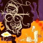 'Billionz'. Mixed media on canvas.120cm x 70cm. 1992