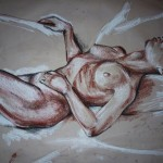 Sleeping Nude 2. Conte on Sepia Paper. 2011. 100cm x 50cm