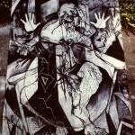 'Confussed Self' Portrait. charcoal on paper. 200cm x 120cm. 1990