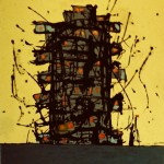 Archetype Tower 1. Paint On Canvas. 100 x 100 cm.1991