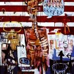 'Flesh Cash'. Mixed media on canvas. 120cm x 200cm. 1992