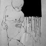 La Putain 17. 2011. Mixed Media on Paper. 60cm x 50cm