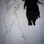 La Putain  9. 2011. Mixed Media on Paper. 60cm x 50cm