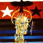 'Leader' Oil and dead bird on canvas. 80cm x 80cm. 1991