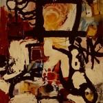 'On TV' Mixed media on canvas. 120cm x 80cm. 1991