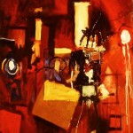 'Self portrait and objects in an interia'. Oil on canvas. 120cm x 80cm. 1990
