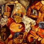 'Self portrait and objects in an interia'. Oil on canvas. 180cm x 120cm. 1989