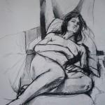 Sleeping Nude. Black Pencil on Paper. 2011. 100cm x 50cm